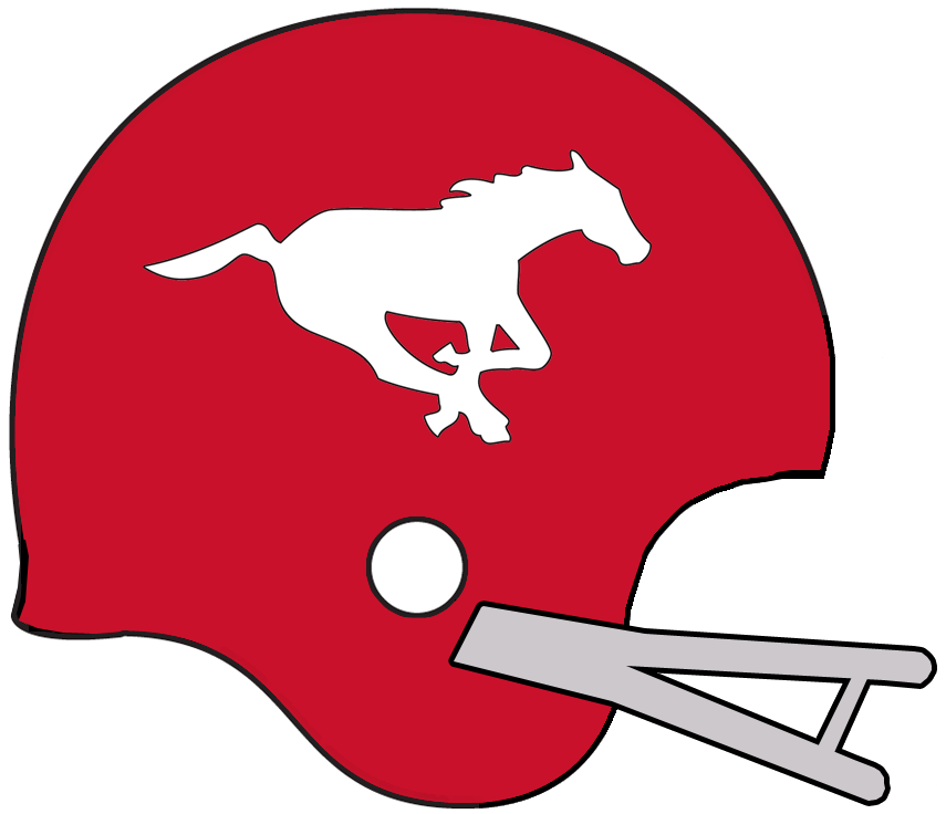 Calgary Stampeders Helmet Helmet (1968-1976) - A galloping white horse on a red helmet with grey facemask SportsLogos.Net