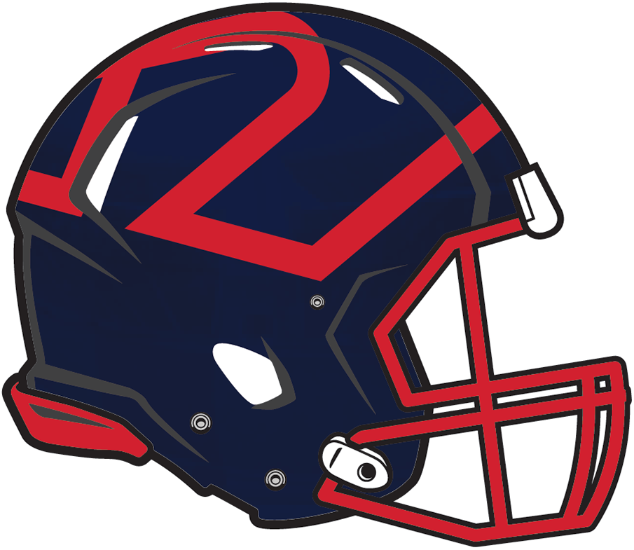 Montreal Alouettes Helmet Helmet (2019-Pres) - Navy blue shell with Als logo on the top of the helmet, red facemask SportsLogos.Net