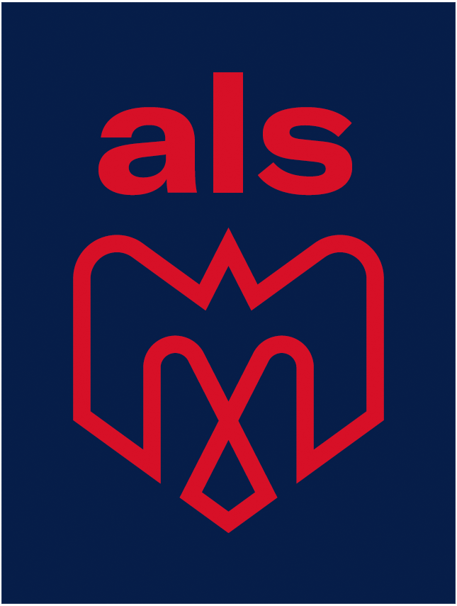Montreal Alouettes Logo Alternate Logo (2019-Pres) - A combination of several elements - An M, an alouette, an airplane, a fleur de lys, and the montreal city logo in red on a blue rectangle, als above in red SportsLogos.Net