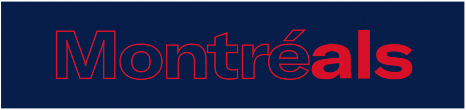 Montreal Alouettes Logo Wordmark Logo (2019-Pres) - Montreals, a combination of Montreal and Als, in red on blue SportsLogos.Net