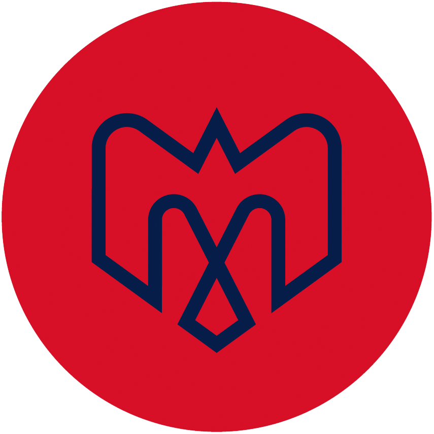 Montreal Alouettes Logo Alternate Logo (2019-Pres) - A combination of several elements - An M, an alouette, an airplane, a fleur de lys, and the montreal city logo in blue on a red circle SportsLogos.Net