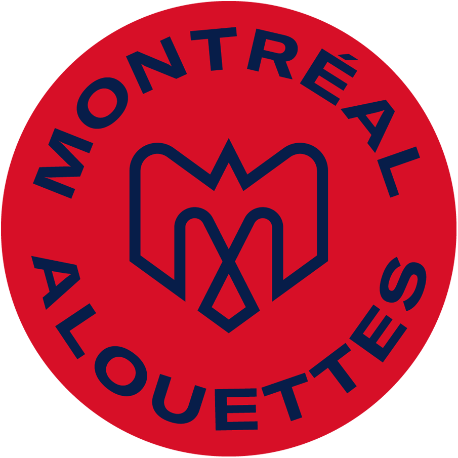 Montreal Alouettes Logo Primary Dark Logo (2019-Pres) - A combination of several elements - An M, an alouette, an airplane, a fleur de lys, and the montreal city logo in blue on a red circle with team name around it SportsLogos.Net