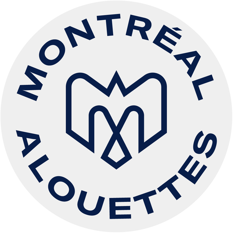 Montreal Alouettes Logo Primary Dark Logo (2019-Pres) - A combination of several elements - An M, an alouette, an airplane, a fleur de lys, and the montreal city logo in blue on a white circle with team name around it SportsLogos.Net
