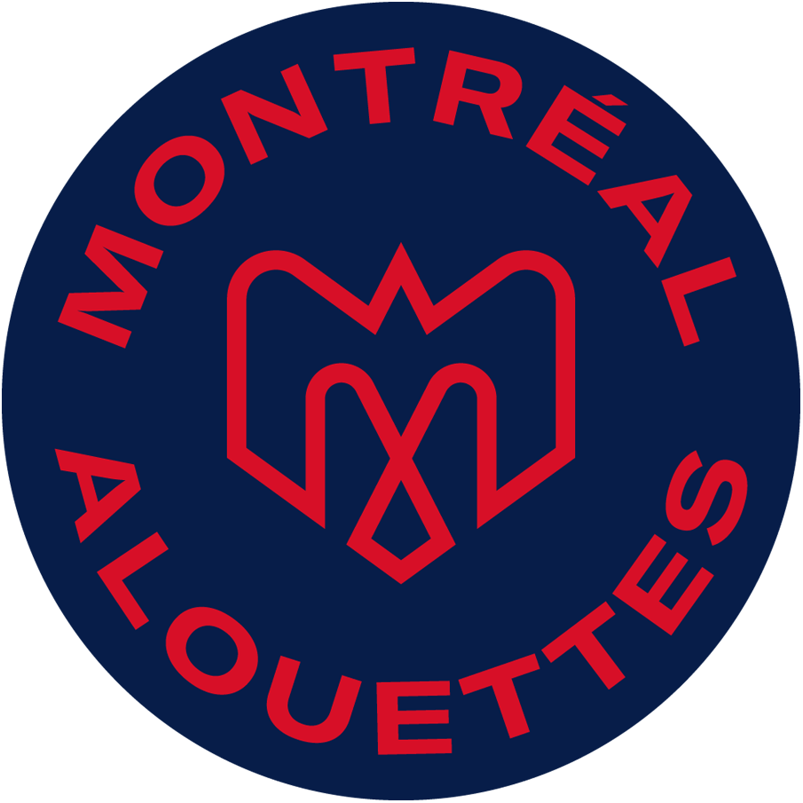 Montreal Alouettes Logo Primary Logo (2019-Pres) - A combination of several elements - An M, an alouette, an airplane, a fleur de lys, and the montreal city logo in red on a blue circle with team name around it SportsLogos.Net