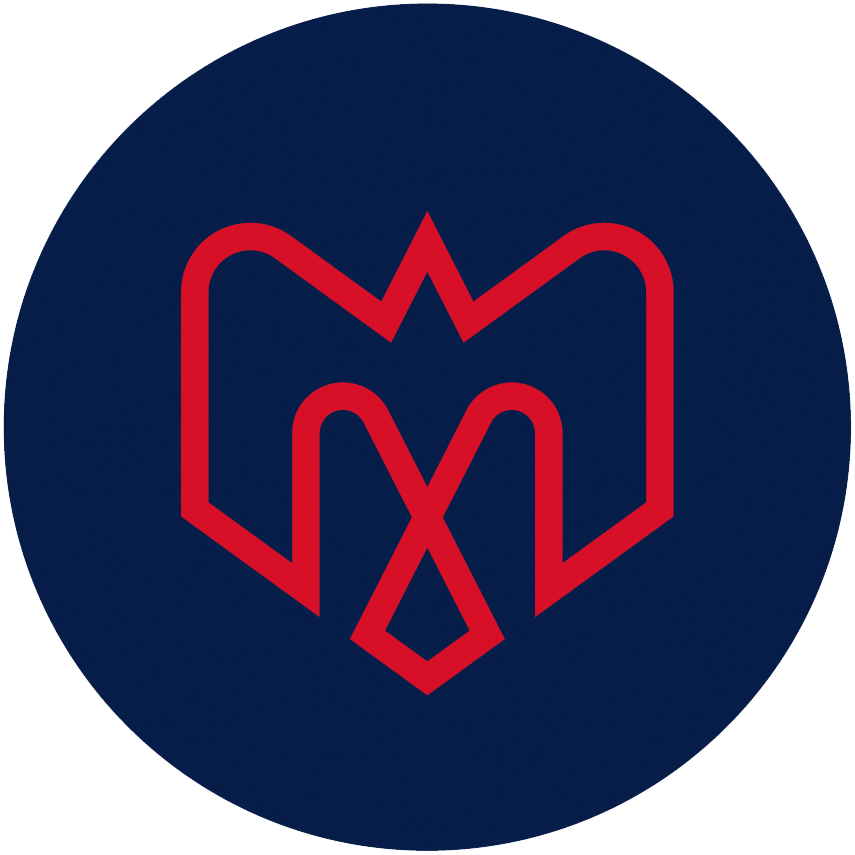 Montreal Alouettes Logo Alternate Logo (2019-Pres) - A combination of several elements - An M, an alouette, an airplane, a fleur de lys, and the montreal city logo in red on a blue circle SportsLogos.Net