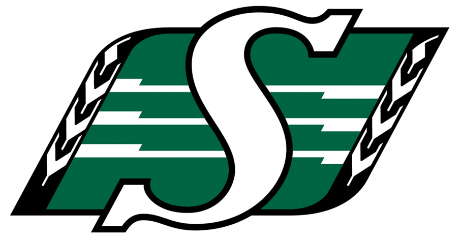 Saskatchewan Roughriders Logo Primary Logo (2016-Pres) - An S on a green field between two stalks of wheat, updated version of their previous logo (1985-2015) with silver removed among other small changes SportsLogos.Net