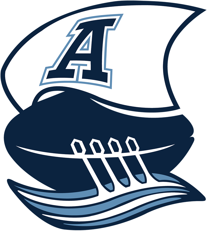 Toronto Argonauts Logo Primary Logo (2021-Pres) - A return to the team's classic boat logo, now modernized. The logo shows a football acting as a massive boat with four paddles dipped into the water out one side, a large sail in white shows a double blue A for Argonauts as a series of light blue and white waves are alongside the football boat SportsLogos.Net