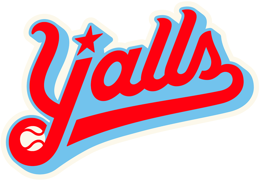 Florence Yalls Logo Primary Logo (2020-Pres) - Florence Y'alls Logo, Y'alls in red script trimmed in blue and cream, a star above the Y and a baseball below it SportsLogos.Net
