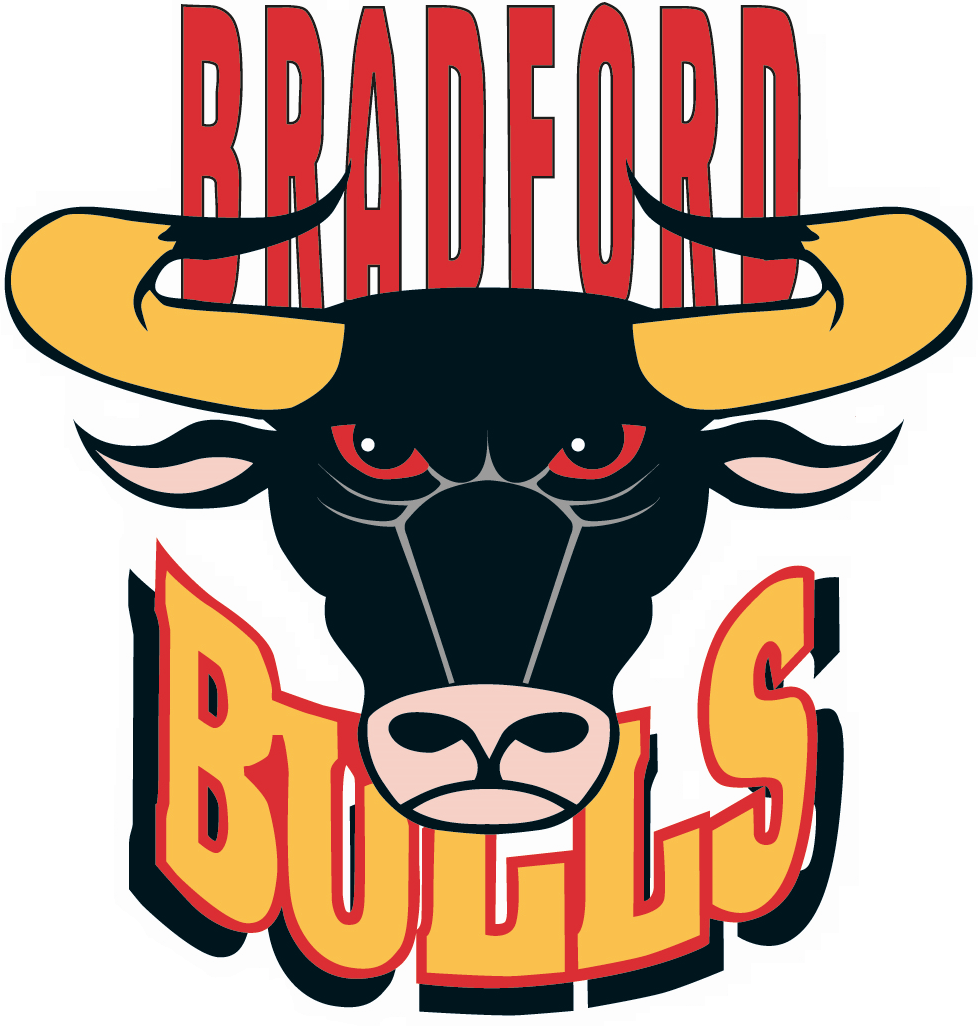 Bradford Bulls Logo Primary Logo (1996-2014) - Black bull head with 'Bradford' above in red,