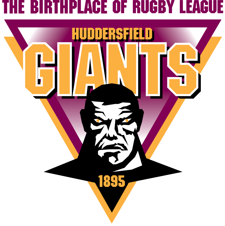 Huddersfield Giants Logo Primary Logo (1998-Pres) - A giant on a purple and yellow triangle SportsLogos.Net