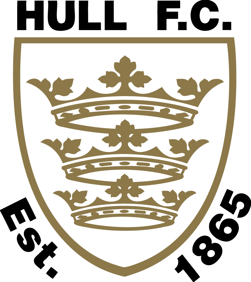 Hull F.C. Logo Primary Logo (1998-Pres) - Three golden crowns inside a black and white shield SportsLogos.Net