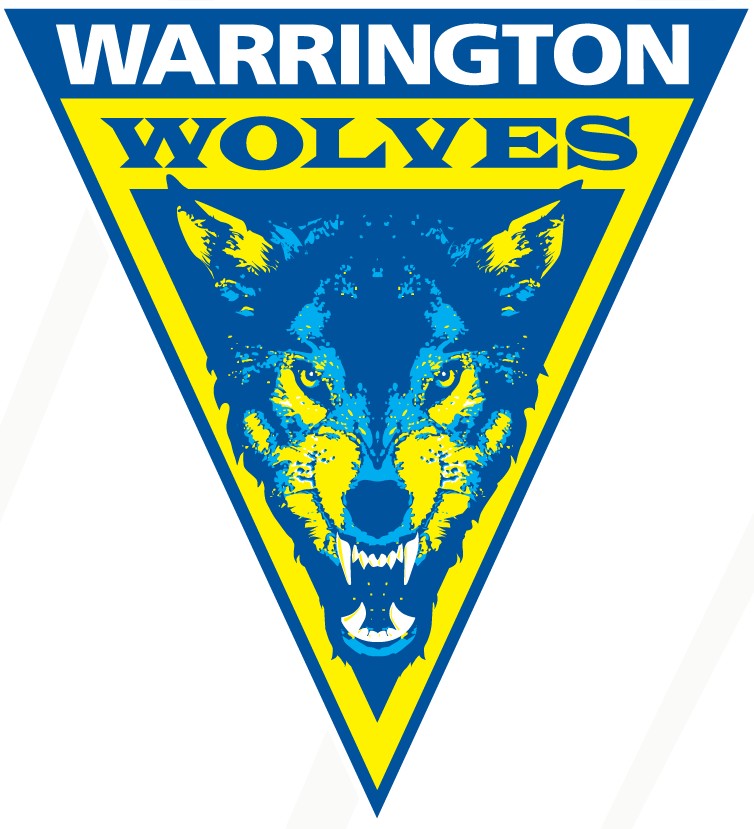 Warrington Wolves Logo Primary Logo (1996-Pres) - A blue and yellow wolf head inside a triangle SportsLogos.Net
