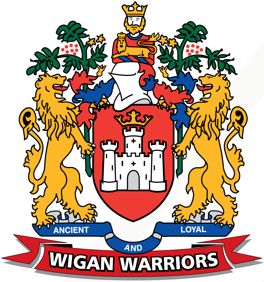 Wigan Warriors Logo Primary Logo (1996-Pres) - A coat of arms with a ribbon reading 'Wigan Warriors' below SportsLogos.Net