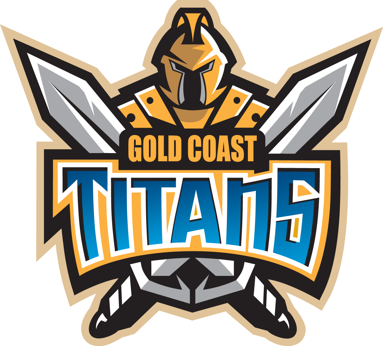 Gold Coast Titans Logo Primary Logo (2007-Pres) - A gladiator in gold with two crossed swords SportsLogos.Net