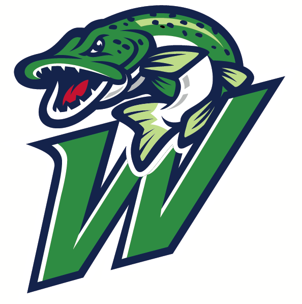 Welland Jackfish Logo Alternate Logo (2018-Pres) - A green and blue fish leaping out of the water above the letter W SportsLogos.Net