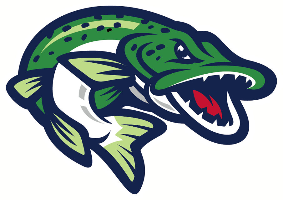 Welland Jackfish Logo Alternate Logo (2018-Pres) - A green and blue fish leaping out of the water SportsLogos.Net