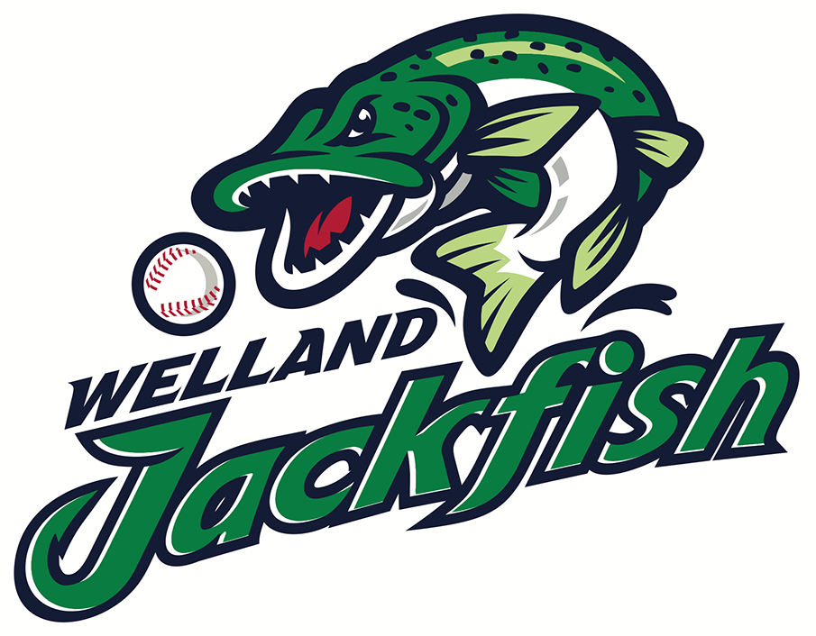 Welland Jackfish Logo Primary Logo (2018-Pres) - A green and blue fish leaping out of the water chasing a baseball with team name below SportsLogos.Net