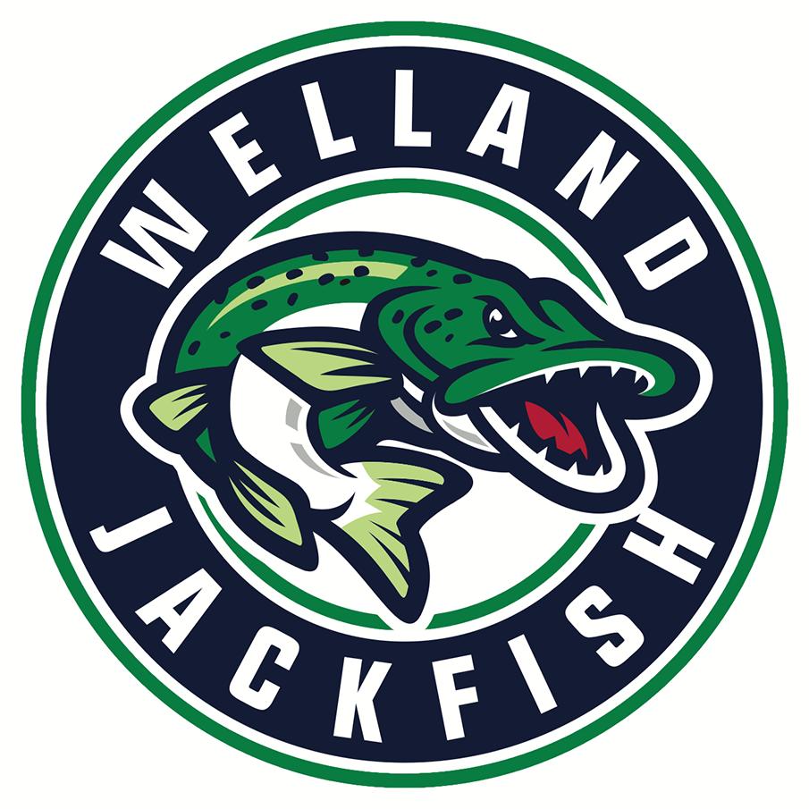 Welland Jackfish Logo Alternate Logo (2018-Pres) - A green and blue fish inside a blue circle roundel style logo, team name around it SportsLogos.Net