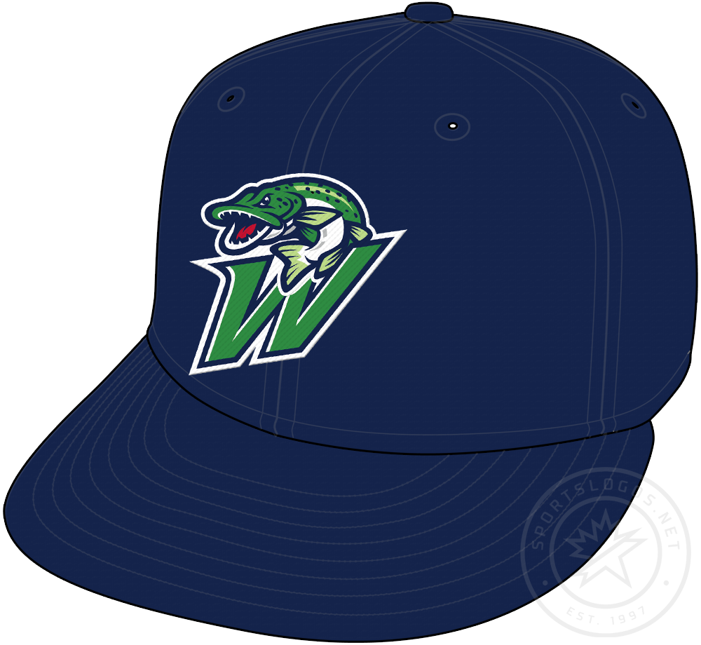 Welland Jackfish Cap Cap (2018-Pres) - A green and blue fish on a W on a blue cap SportsLogos.Net