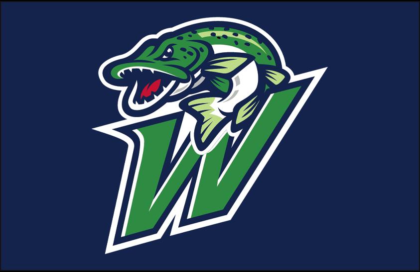 Welland Jackfish Logo Cap Logo (2018-Pres) - A green and blue fish on a W on a blue field, worn on Welland Jackfish caps SportsLogos.Net