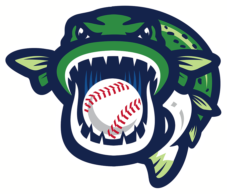 Welland Jackfish Logo Alternate Logo (2018-Pres) - A green and blue fish with a baseball in its mouth facing the viewer SportsLogos.Net