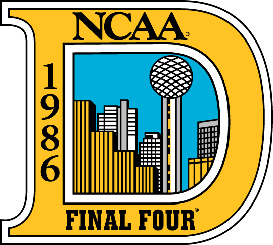 NCAA Mens Final Four Logo Primary Logo (1986) - 1986 NCAA Men's Final Four Logo - held in Dallas, Texas. - Duke, Kansas, LSU, Louisville SportsLogos.Net