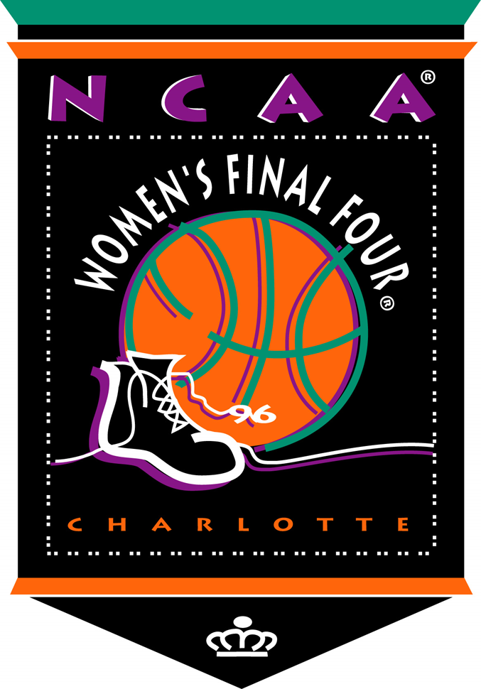 NCAA Womens Final Four Logo Primary Logo (1996) - 1996 NCAA Women's Final Four - held in Charlotte, North Carolina. - Tennessee, Connecticut, Georgia, Stanfrod SportsLogos.Net