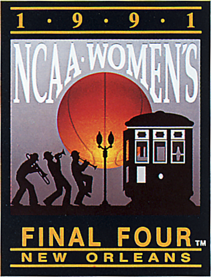 NCAA Womens Final Four Logo Primary Logo (1991) - 1991 NCAA Women's Final Four - held in New Orleans, Louisiana. - Tennessee, Stanford, Connecticut, Virginia SportsLogos.Net