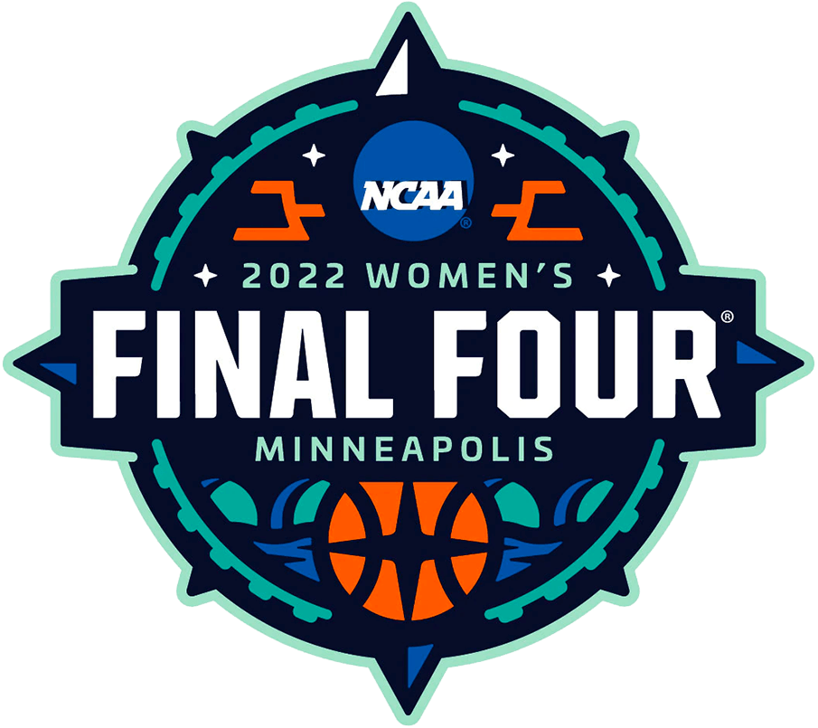 NCAA Womens Final Four Logo Primary Logo (2022) - The 2022 NCAA Women's Final Four logo plays up the theme of the host Minneapolis, Minnesota being located up north. The logo shows a compass pointing to the north with four stars and the final four bracket to represent the final four teams. At the bottom of the logo is the Stone Arch Bridge spanning across the Mississippi River as it does in Downtown Minneapolis.  SportsLogos.Net