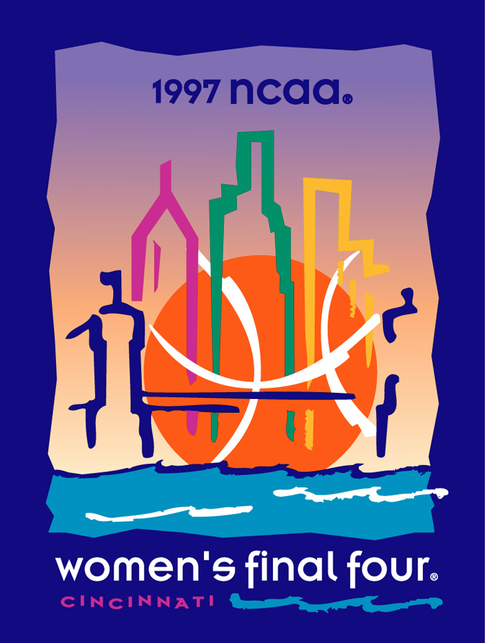 NCAA Womens Final Four Logo Primary Logo (1997) - 1997 NCAA Women's Final Four - held in Cincinnati, Ohio. - Notre Dame, Tennessee, Old Dominion, Stanford  SportsLogos.Net