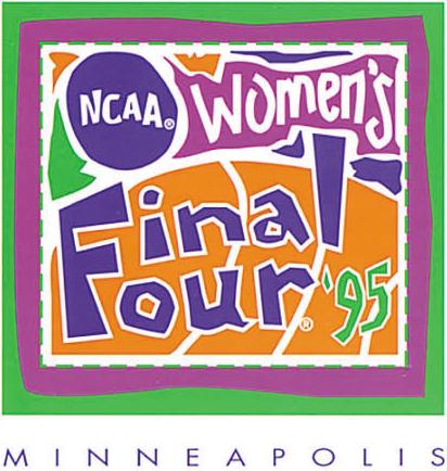 NCAA Womens Final Four Logo Primary Logo (1995) - 1995 NCAA Women's Final Four - held in Minneapolis, Minnesota. - Connecticut, Stanfrod, Tennessee, Georgia SportsLogos.Net