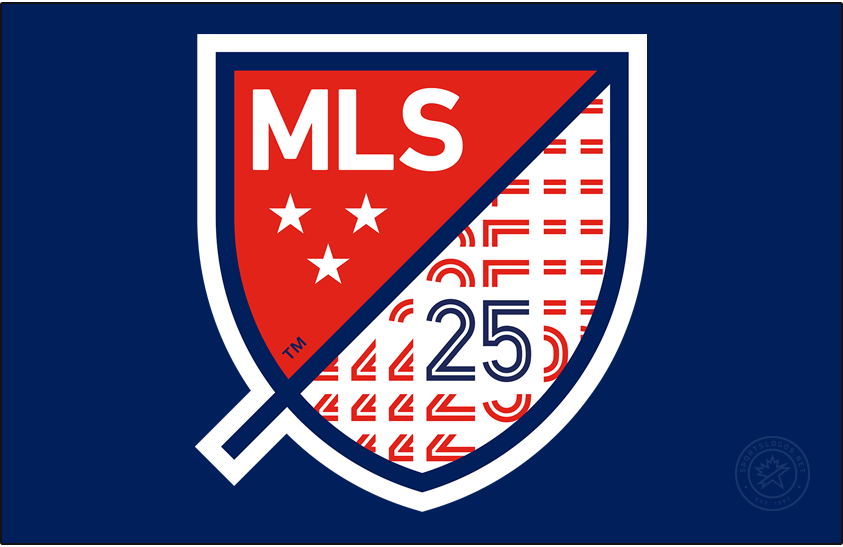 Major League Soccer Logo Anniversary Logo (2020) - The Major League Soccer 25th season logo shows the MLS shield logo with a blue 25 in the lower right corner. Logo is shown here on a blue background SportsLogos.Net