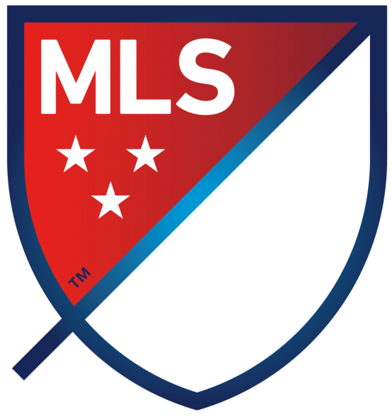 Major League Soccer Logo Primary Logo (2015-Pres) - A blue shield with a slash running diagonally through it. Top left corner in red with league name