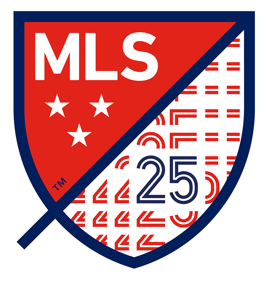 Major League Soccer Logo Anniversary Logo (2020) - The Major League Soccer 25th season logo shows the MLS shield logo with a blue 25 in the lower right corner SportsLogos.Net