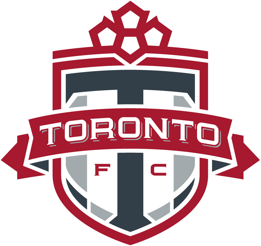 Toronto FC Logo Primary Logo (2010-Pres) - A stylized maple leaf on top of a shield with a grey T and a ribbon across it with Toronto in white. Shade of red was darkened slightly for 2010 season  SportsLogos.Net