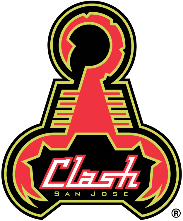 San Jose Clash Logo Primary Logo (1996-1999) - Red cyber-scorpion with florescent yellow and black outlines SportsLogos.Net