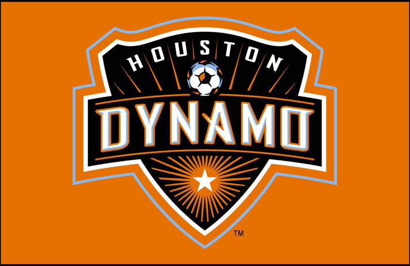 Houston Dynamo Logo Primary Dark Logo (2006-2020) - Houston Dynamo primary logo on orange SportsLogos.Net
