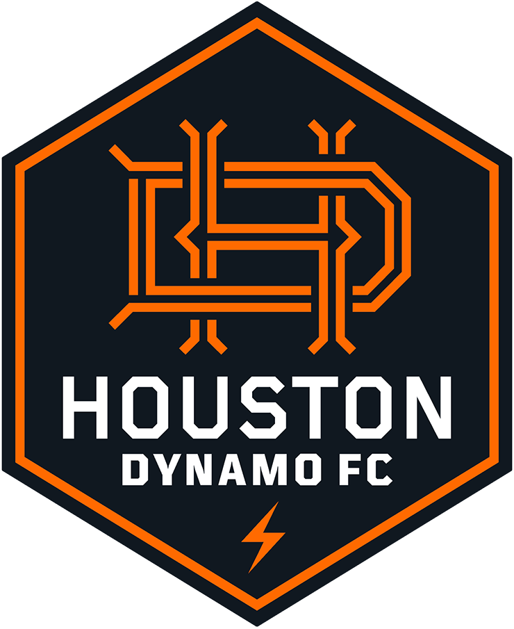 Houston Dynamo Logo Primary Logo (2021-Pres) - Houston Dynamo FC introduced a new primary crest for the 2021 MLS season, a six-sided shield with an interlocked HD in orange inside. A lightning bolt is shown at the bottom of the shield to show that Houston is the Energy Capital of the World.  SportsLogos.Net