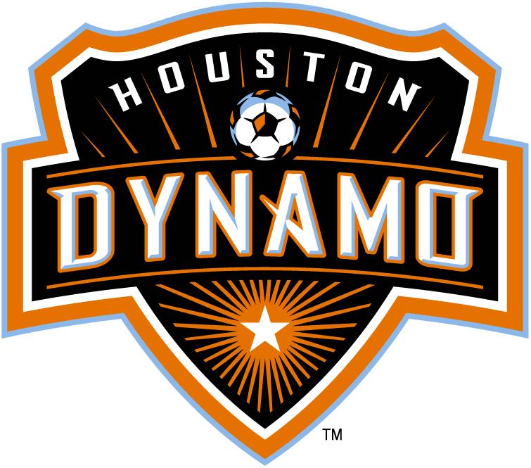 Houston Dynamo Logo Primary Logo (2006-2020) - Dynamo in white with a soccer ball on a black shield and an orange starburst SportsLogos.Net