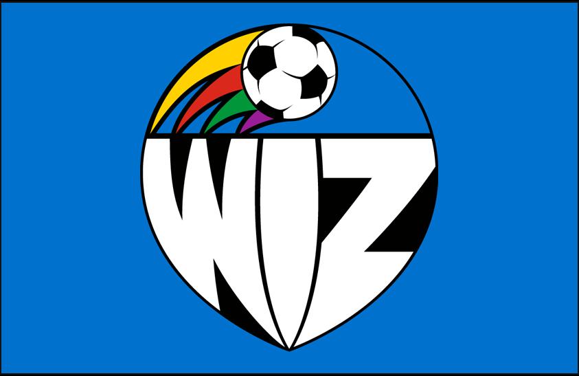 Kansas City Wiz Logo Primary Dark Logo (1996) - Kansas City Wiz primary logo on blue SportsLogos.Net