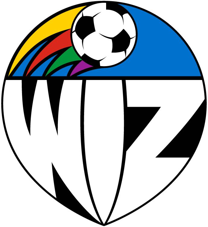 Kansas City Wiz Logo Primary Logo (1996) - Soccer ball with rainbow streamers with Wiz below in shield SportsLogos.Net