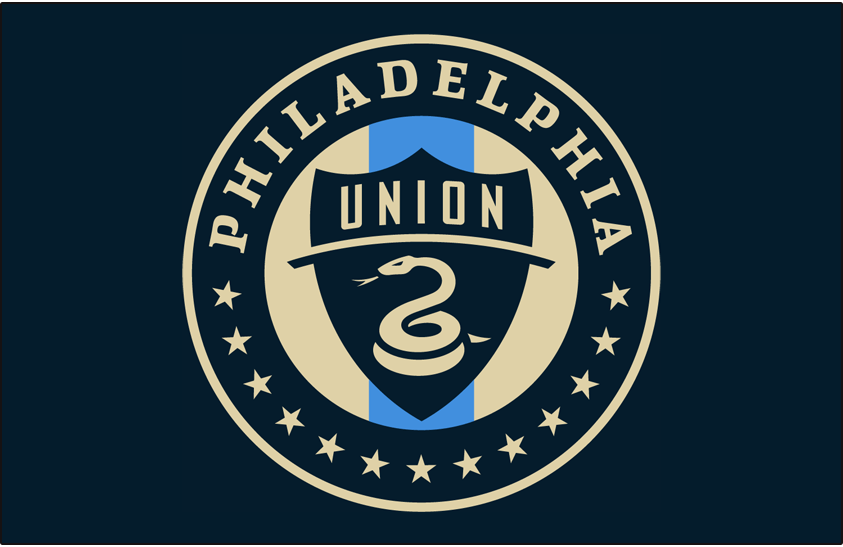 Philadelphia Union Logo Primary Dark Logo (2018-Pres) - Philadelphia Union primary logo on blue SportsLogos.Net