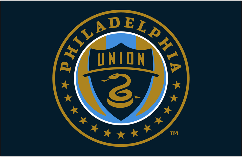 Philadelphia Union Logo Primary Dark Logo (2010-2017) - Philadelphia Union primary logo on blue SportsLogos.Net
