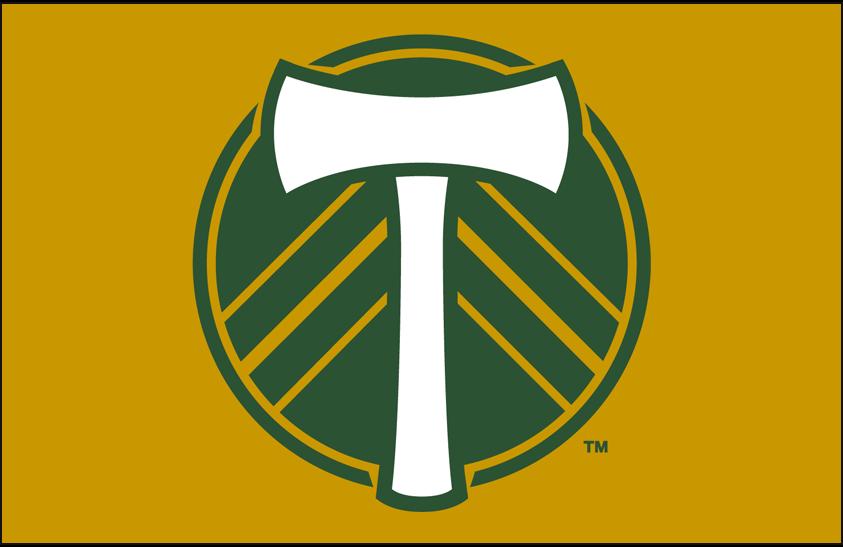 Portland  Timbers Logo Primary Dark Logo (2019-Pres) - Portland Timbers primary logo on gold SportsLogos.Net