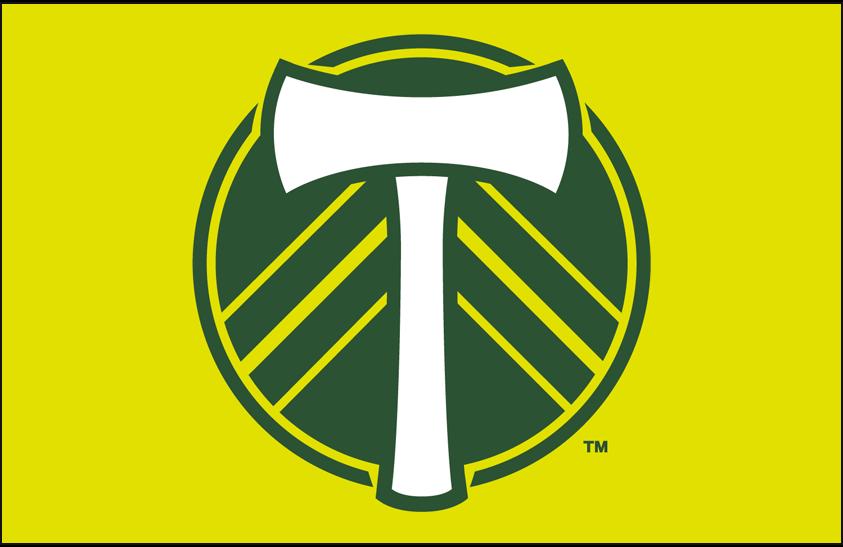 Portland  Timbers Logo Primary Dark Logo (2016-2018) - Portland Timbers primary logo on yellow SportsLogos.Net
