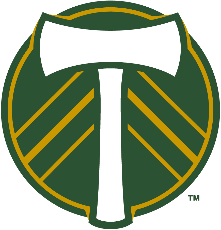 Portland Timbers Logo Primary Logo (2019-Pres) - White axe on a green and gold circle  SportsLogos.Net