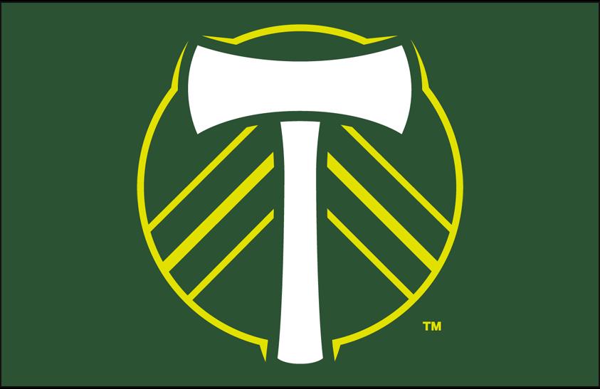 Portland  Timbers Logo Primary Dark Logo (2016-2018) - Portland Timbers primary logo on green SportsLogos.Net