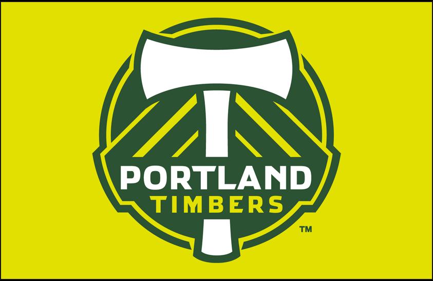 Portland  Timbers Logo Primary Dark Logo (2011-2015) - Portland Timbers primary logo on yellow SportsLogos.Net