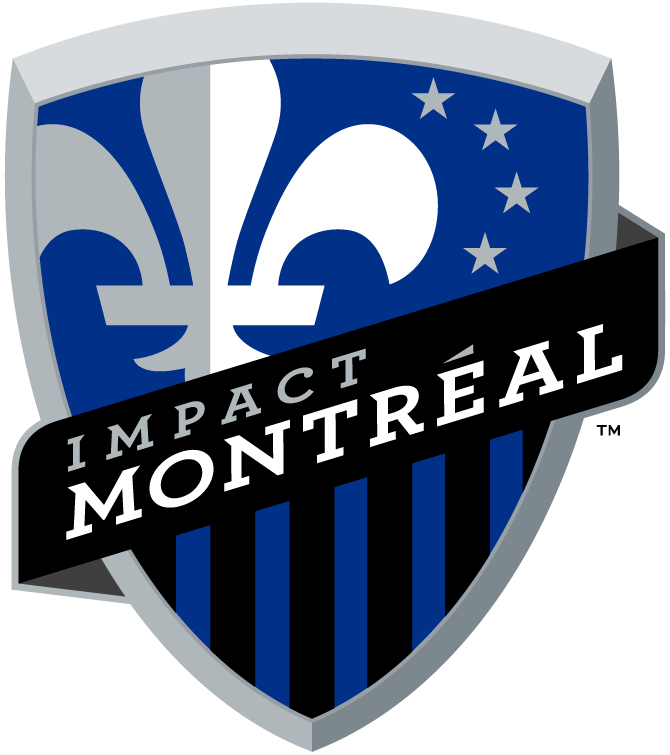 Montreal Impact Logo Primary Logo (2012-2020) - A white fleur-de-lis on a blue shield with four grey stars, a black banner with team name and vertical blue and black bars below.  Tous Pour Gagner (french for All To Win) is at the top of the shield.  The four stars represent the original settlers of the city of Montreal - the French, English, Irish and Scots.  The black and blue stripes are a tribute to the club's first championship in 1994. SportsLogos.Net