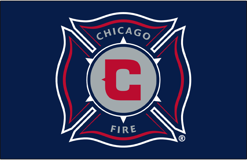 Chicago Fire Logo Primary Dark Logo (1998-2014) - Chicago Fire primary logo on blue SportsLogos.Net